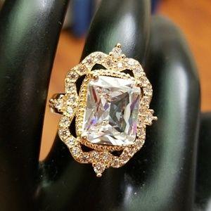 Rose Gold color Ring, Center Stone Rhinestone